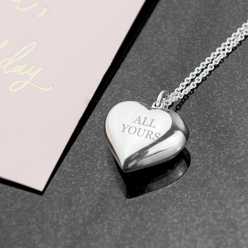Personalised Cherish Heart Sterling Silver Necklace