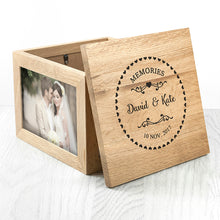 Personalised Couples' Wooden Photo Keepsake Box with Heart Frame - Ideal Wedding Gift!