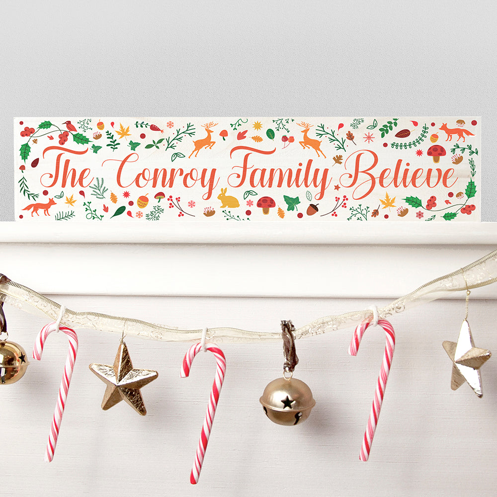 Personalised Woodland Christmas Mantle Wooden Decoration