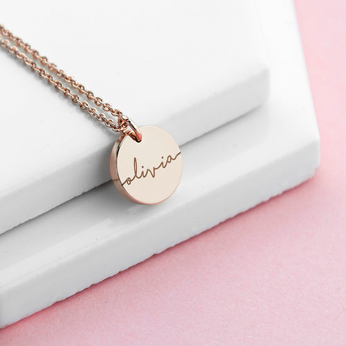Personalised Disc Necklace - Available in Sterling Silver, Gold and Rose Gold (18ct plated)