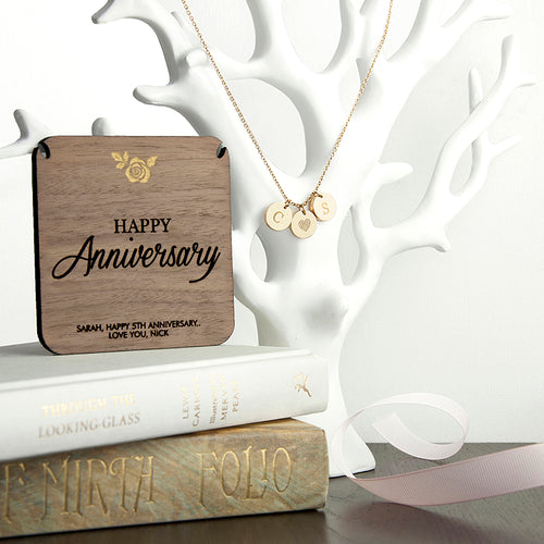 Personalised Happy Anniversary Initial Necklace PLUS Wooden Keepsake