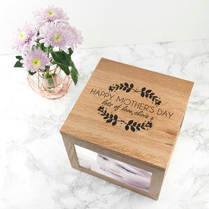 Personalised 'Happy Mother's Day' Wooden (Oak) Photo Keepsake Box - Three sizes available