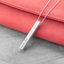 Personalised Matt Vertical Bar Necklace - Available in Gold or Silver Colour