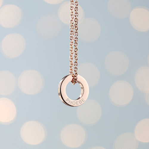 Personalised Mini Ring Necklace - Silver, Gold & Rose Gold (plated)