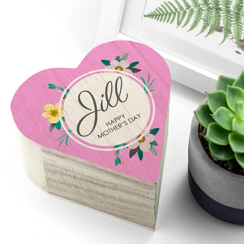 Personalised Mother's Day Wooden Heart Trinket Box