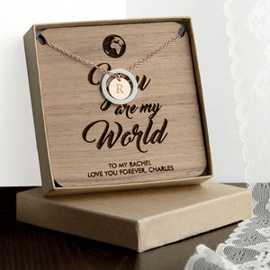 Personalised Initial Charm Necklace PLUS Wooden 'You are my World' Keepsake