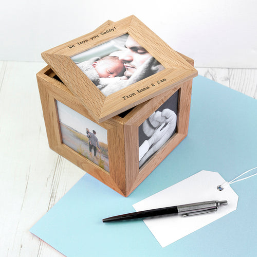 Personalised Oak Photo Cube Keepsake Box - Perfect for Any Occasion