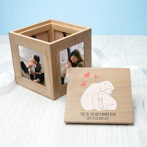 Personalised 'The Best Mama Bear' Wooden (Oak) Photo Keepsake Box (Two sizes available)