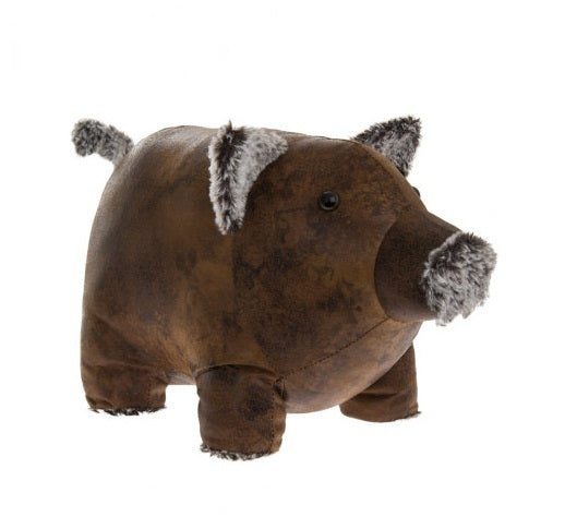 Faux Leather Pig  Door Stop