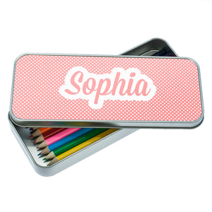 Personalised Dotty Dots Pencil Case (with or without pencils) - Available in Blue, Pink & Purple