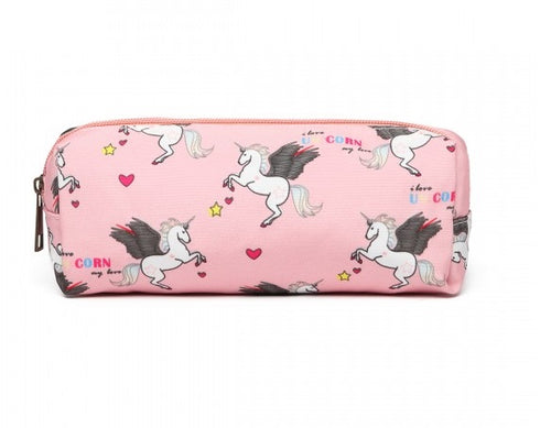 Canvas Unicorn Pencil Case - Available in Black, Grey, Pink and Blue