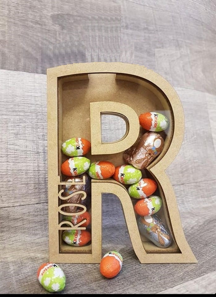 Customisable Wooden Initial (Small Chocolate) Holder - Can be Personalised