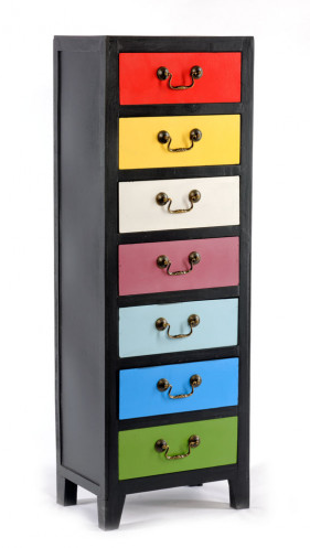 Tall Rainbow Cabinet with 7 Drawers