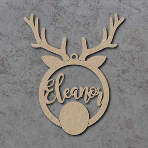 Personalised and Customisable Rudolph Reindeer Christmas Hanging Decoration