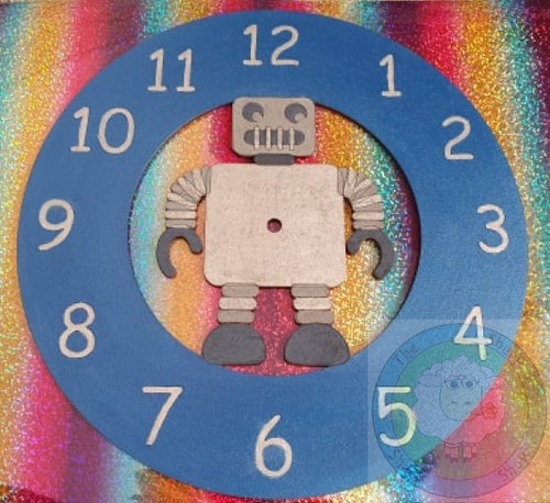 Customisable Wooden Robot Clock