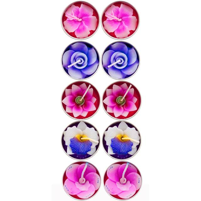 Box of 10 Scented Flower colourful Tealight Candles