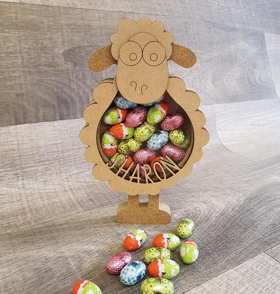 Customisable Wooden Sheep (Chocolate) Holder - Can be Personalised