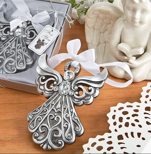 Silver Angel Hanging Ornament with Antique Finish - Ideal for Christmas