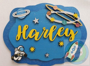 Personalised And Customisable Wooden 3D Layered Space Plaque (Choose from Rectangle or Circular Designs)