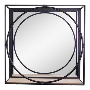 Large Black Metal Framed Wall Unit Mirror and Shelf
