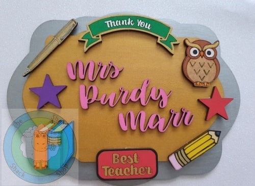Personalised And Customisable 3D Layered Teacher Rectangle Plaque