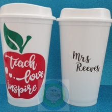 Customisable 'Teach, Love, Inspire' (Apple Design) Teacher Mug (Can be personalised)