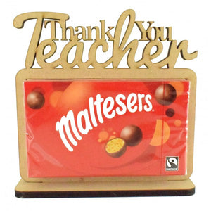 Customisable Wooden 'Thank You Teacher' Chocolate Box (Maltesers) Holder on a Stand