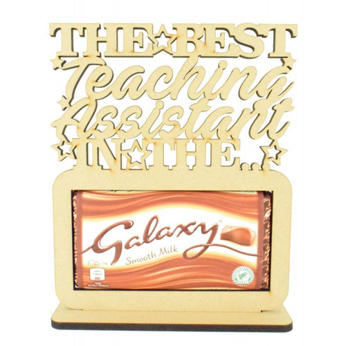 Customisable and Personalised Wooden 'The Best (Teacher Role) In The Galaxy' Chocolate Bar Holder on a Stand