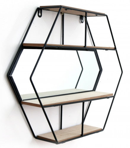Hexagon Wall Unit With Mirror and 3 Shelves