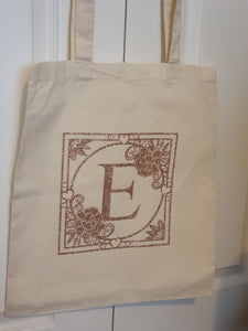 Neutral Tote Bag with Rose Gold Monogram