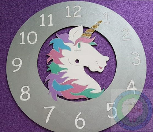 Customisable Wooden Unicorn Clock