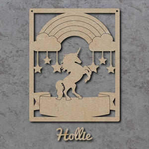 Customisable and Personalised Wooden Unicorn Name Sign