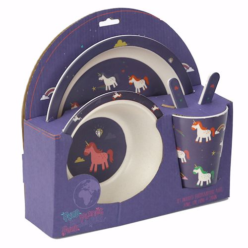 Bambootique Eco Friendly Plastic Unicorn Toddler / Child Dinner Set