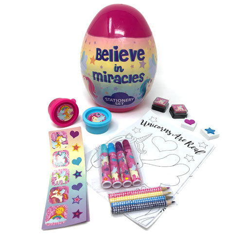 Magical Unicorn Stationary Inside Plastic Egg Container