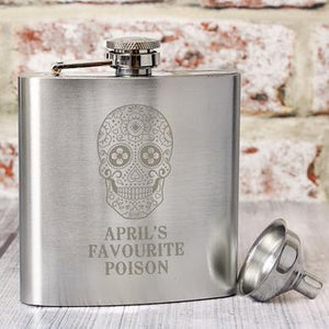 Personalised Sugar Skull Hip Flask - perfect for Halloween