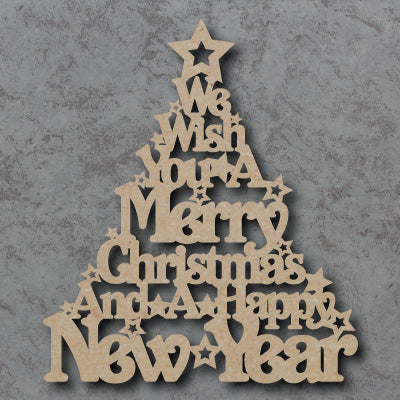 Customisable Wooden 'We Wish You a Merry Christmas' Tree Sign