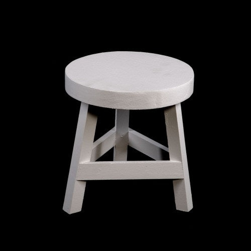 Painted Wooden (White) Three Legged Stool