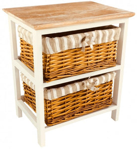 Wooden Storage Cabinet With 2 Baskets