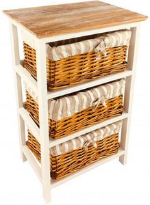 Wooden Storage Cabinet With 3 Baskets