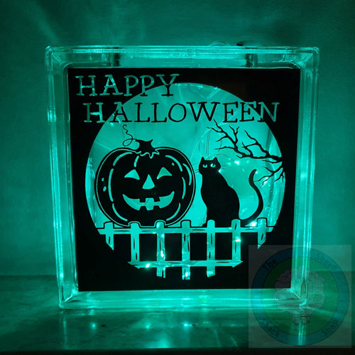 Halloween Light Up (LED) Glass Block Decoration