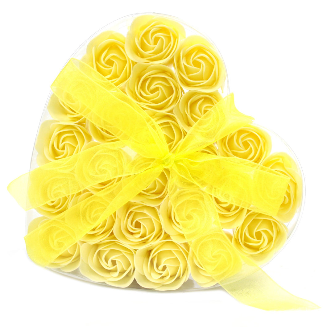 Set of 24 Soap Flower Heart Box - Yellow Roses