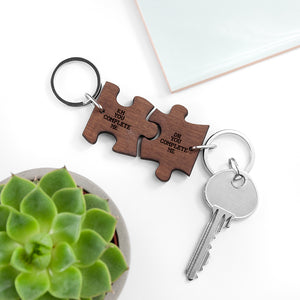 Personalised 'You Complete Me' Romantic Walnut Jigsaw Keyring (Two Keyrings)