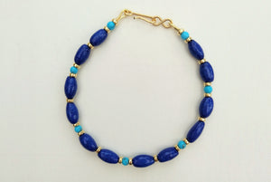 Cobalt Blue Egyptian Faience Bead Bracelet with Turquoise