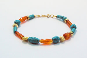 Egyptian Paste, Gold and Carnelian Bracelet