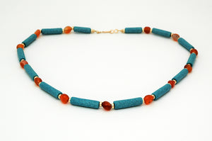 Egyptian Paste and Carnelian Necklace