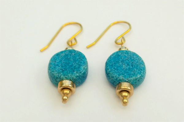 Egyptian Paste and Gold Disc Earrings