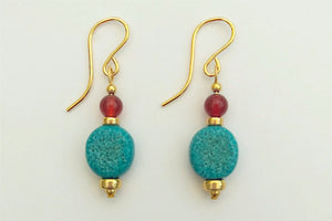 Egyptian Paste and Carnelian Disc Earrings