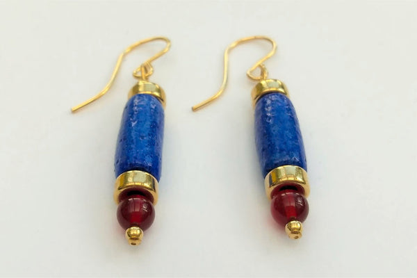 Egyptian Paste and Carnelian Tube Bead Earrings