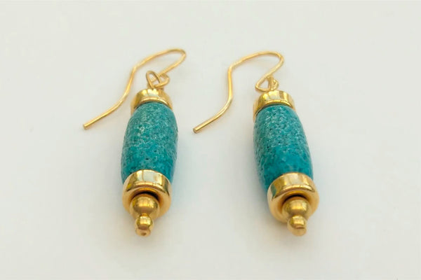 Egyptian Paste and Gold Cylinder Bead Earrings