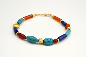 Egyptian Paste, Carnelian and Gold Bracelet with Scarab